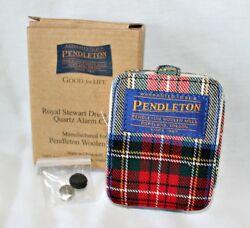 NEW Pendleton Woolen Mills Tartan Plaid Travel Alarm Clock In Folding Case W Box