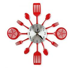 CIGERA 16 Inch Large Kitchen Wall Clocks with Spoons and Forks,Great Home Red