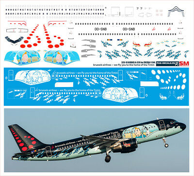 1/144 PAS-DECALS decals for AIRBUS A320 BRUSSELS AIRLINES TinTin for sale  Deerfield