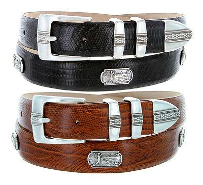Golf of Scottsdale - Mens Leather Italian Calfskin Concho Dress Belt 1-1/8