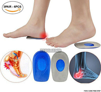 Gel Heel Cups (3PAIR) - Best Shoe Inserts for Heel Spurs - Plantar Fasciitis
