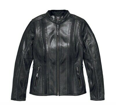 Harley Davidson Women's Venos Perforated Leather Jacket 3-In-1,97010-18VW Large.