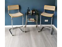 Pair of Retro Marcel Breuer Cesca Style Bar Stools Rattan Tall Chairs