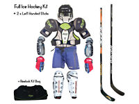 Full Mens Hockey Kit - Medium/Large, Helmet, Shoulder, Gloves, Shin, 2 x Left Sticks