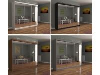 BRAND NEW CHICAGO 250 CM FULL MIRROR 3 DOOR SLIDING BEDROOM WARDROBE CASH ON DELIVERY FAST DELIVERY
