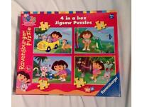 DORA THE EXPLORER 4 JIGSAWS IN 1 BOX (12/16/20/24 PIECES). COMPLETE VGC.