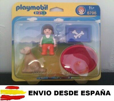 Playmobil 123 Ref 6796 Niña con Perro y Accesorios Animales niños E....