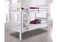 White Bunk Bed - Pine Bunk Bed Single 3FT Wooden Frame White Wood With Mattress Option