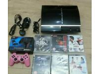 Play station 3 complete consoles with 2 joy pads6 games 40 gb hard drive and manual booklet