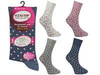 New 360x Ladies Womens Dotted Design Non Elastic Loose Top Diabetics Cotton Socks Wholesale Stock