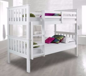 🔥AMAZING WHITE & WALNUT FINISH🔥 NEW White Chunky Wooden 3FT Single Bunk Bed w Range Of Mattresses