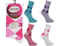 360 Pairs Womens Ladies Assorted Argyle Non Elastic Diabetic Cotton Socks Clearance Wholesale Stock