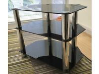 TV Table/Stand 3 Shelf Black glass with chrome legs (heavy) 60cm long X 40cm wide X51 height
