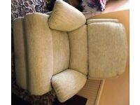 Reclining Armchair light beige chenille - barely used