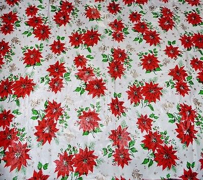 Vintage Christmas Flannel Back Vinyl Tablecloth White Red Poinsettia 85 x 52