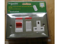 NEW 2-Gang 45A Cooker Switch Control Unit NEON chrome