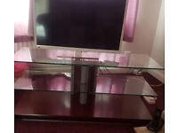 3 shelf glass and wood TV/accessory stand