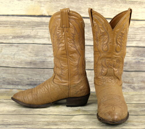 Tony, Lama, Cowboy, Boots, Tan, Leather, Mens, Size, 9, EE, Extra, Wide, Western, Distressed