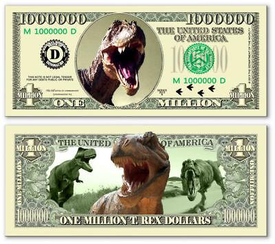 T-Rex Dino Million Dollar Bill Fake Play Funny Money Novelty Note + FREE SLEEVE