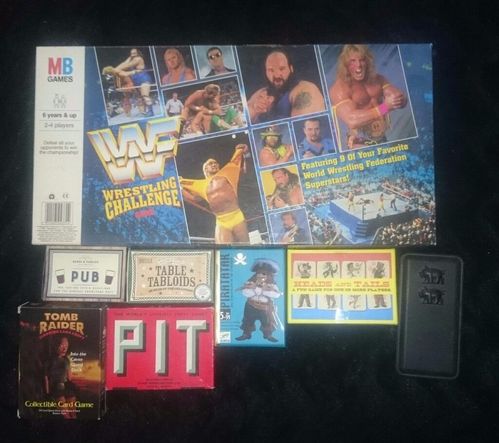 MIXED BOARD AND TRAVEL GAMES. WWF, TOMB RAIDER AND MORE