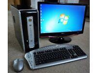 DESKTOP PC - AMD 64 Athlon 3200+ CPU - Windows 7. New Mini Case. DVD-ReWriter, 6 USB. Wireless Kbd.