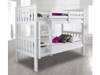 SUPREME QUALITY - BRAND NEW SINGLE WHITE WOODEN BUNK BED -- WHITE AND PINE COLOURS