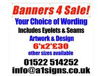 BANNERS Custom made PVC Banners FOR SALE Any size, any colour