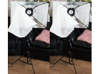 strobe lights softbox and stands plus 6ft by 12 ft vinyl black and white reversible backdrop