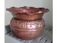 Vintage copper pot holder, vase, jardiniere