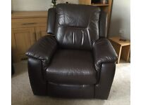 Brown Leather Electric Recliner Chair in excellent condition.