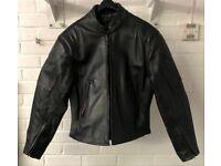 Ladies Leather Motorcycle Jacket Black