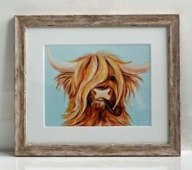 Highland cattle with pipe -giclee print - framed, new, studio clearance hence low price