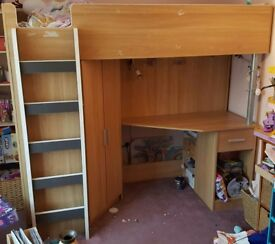 Cabin/High Sleeper Bed with desk and wardrobe