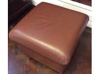 Brown leather footstool pouf pouffe ottoman poof