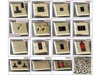 50+ Victorian Brass Electrical Switches Plates Dimmer Cooker Blanking Ariel Phone Switched Socket