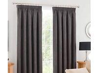 Pencil pleat Grey blackout curtains x 2