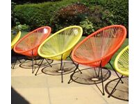 """""""Love Island"""" 2 New Garden Chairs. Retro Design in Orange. Unused & Tags. Only £30 each"""