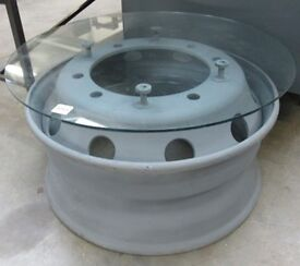 Coffee Table - Lorry Wheel & Glass Top