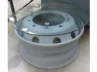 Coffee Table - Lorry Wheel & Glass Top