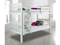 💗💥💗MEGA SALE NOW ON🔥💗💥BRAND NEW SINGLE 3FT WHITE CHUNKY WOODEN CONVERTIBLE BUNK BED & MATTRESS