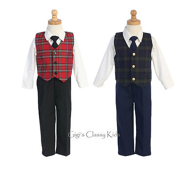 New Boys Plaid Vest Suit Kids Baby Toddler Christmas Holidays Party Wedding 565 Boys Holiday Plaid Vest