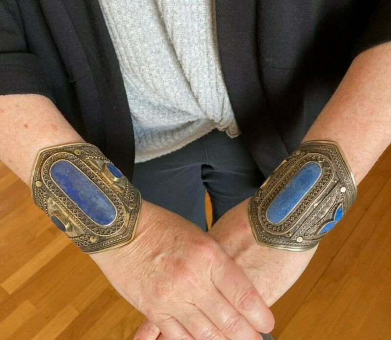 "Lot of 2 Large Vintage Afghan Bedouin Turkmen Bracelets Both 4""x3"" Lapis Stones"