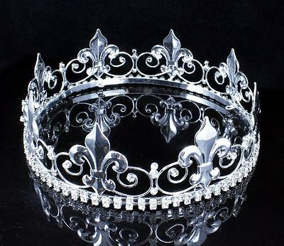 BOY'S TEEN KING METAL CROWN CLEAR AUSTRIAN RHINESTONE THEATER PARTY C805 SILVER (Metal King Crown)