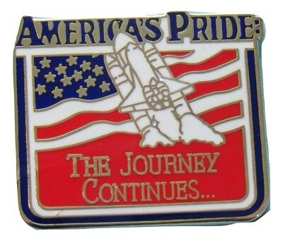 NASA Winco PIN vtg AMERICA'S PRIDE 'Journey Continues' SPACE SHUTTLE U.S. Flag  for sale  Shipping to Canada
