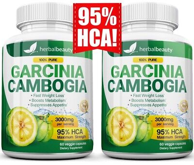 2 Pack Garcinia Cambogia 95  Hca 3000Mg Daily Weight Loss Diet Pills Fat Burner