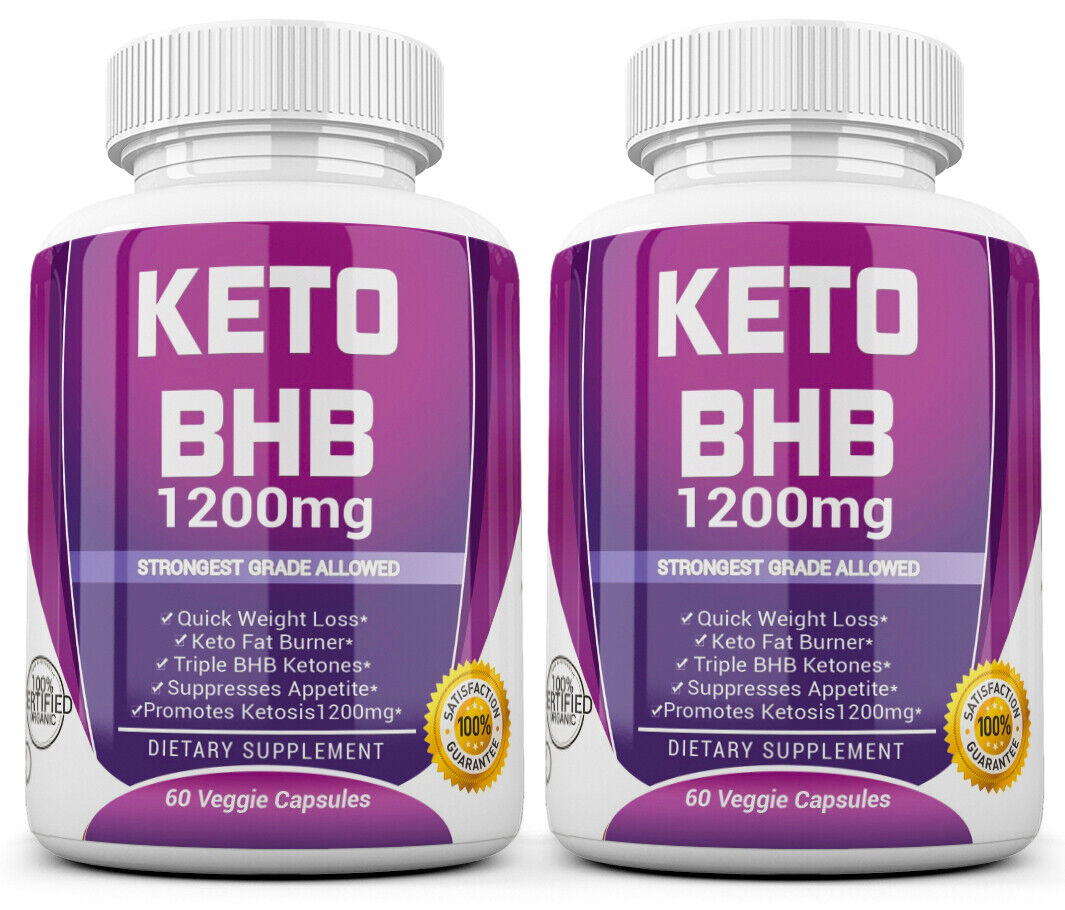 2 X KETO BHB 1200mg PURE Ketone FAT BURNER Weight Loss Diet