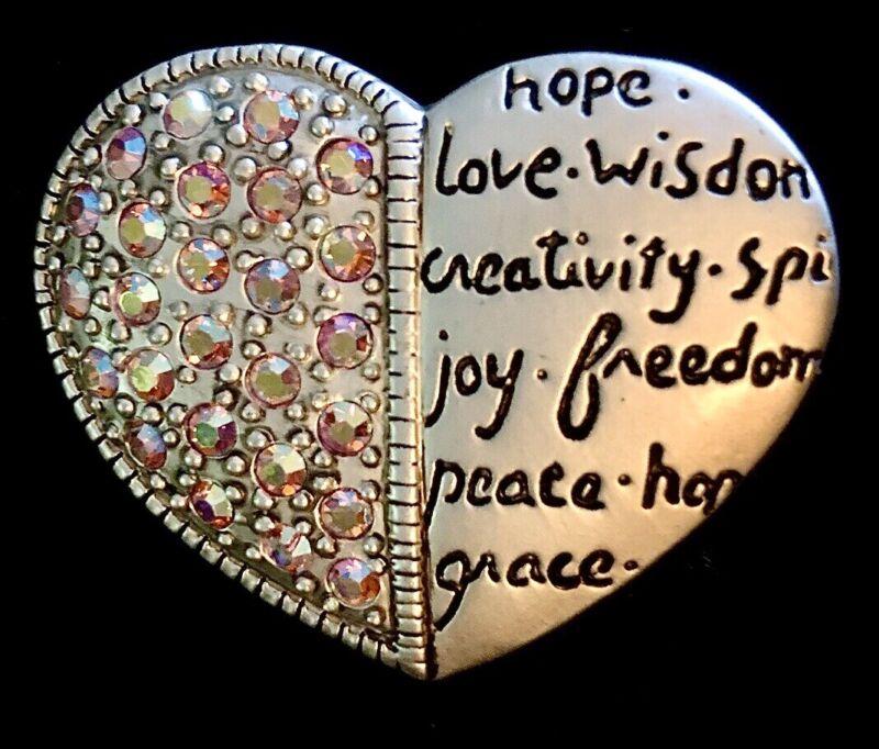 Signed AJMC Silver Tone Crystal Encouragement Love Heart Pin Brooch Broach Faith