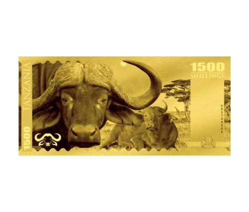 2018 Tanzania Big 5 - Buffalo Foil Note Gold Sh1,500 Coin GEM Prooflike SKU51826