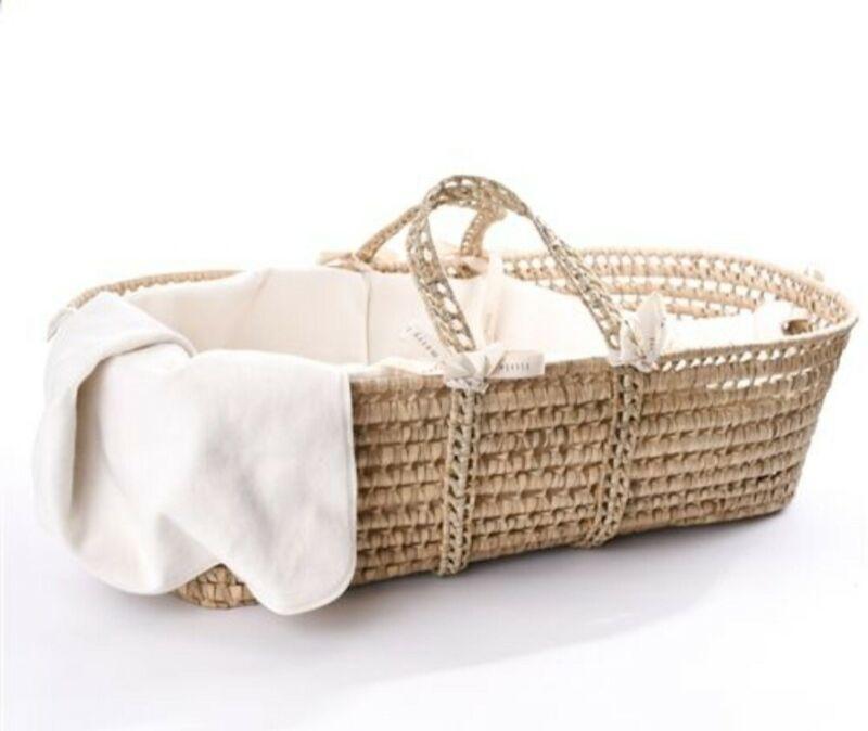 "ORGANIC Moses Basket Hand Woven USA Organic Durable! L32""x W15""x H9"""