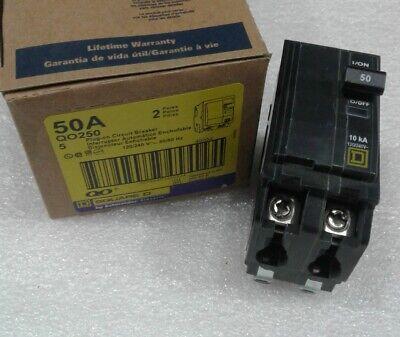LOT OF 4 1-QO260 SQUARE D QO250 2 POLE 50 AMP BREAKER QO250 BIN2